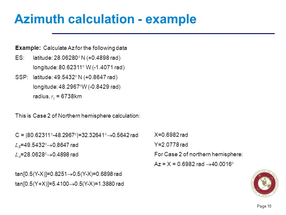 Azimuth calculation - example