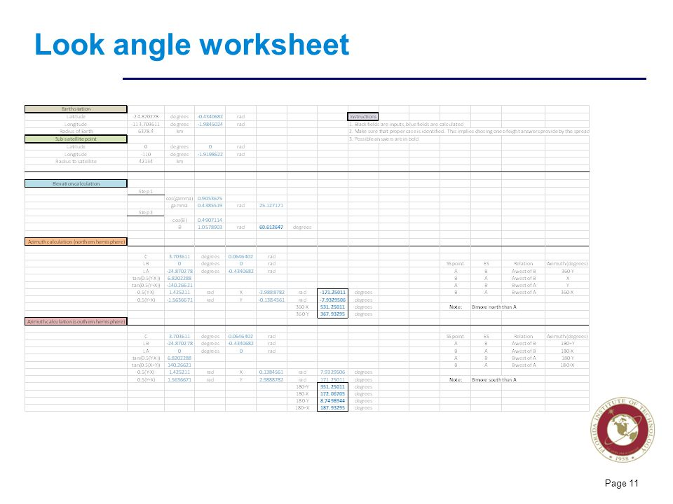 Look angle worksheet