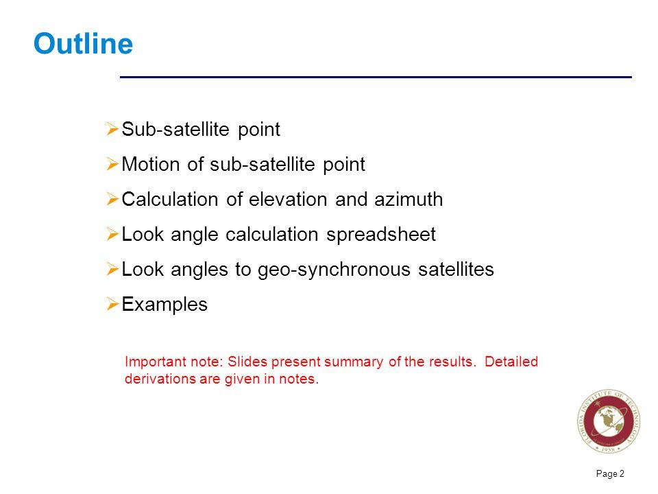 Outline Sub-satellite point Motion of sub-satellite point