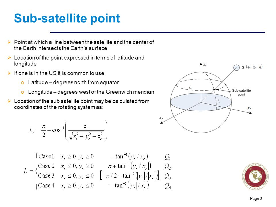 Sub-satellite point Point at which a line between the satellite and the center of the Earth intersects the Earth's surface.