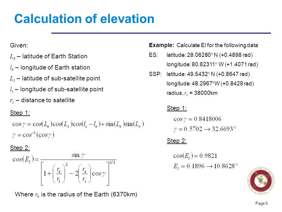 Calculation of elevation