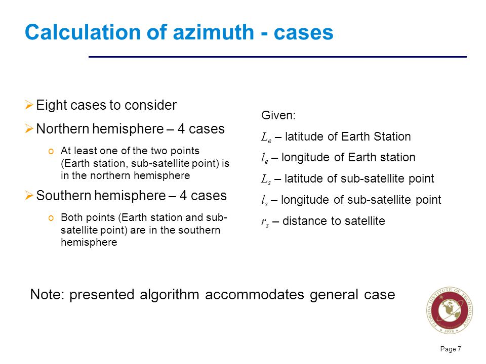 Calculation of azimuth - cases