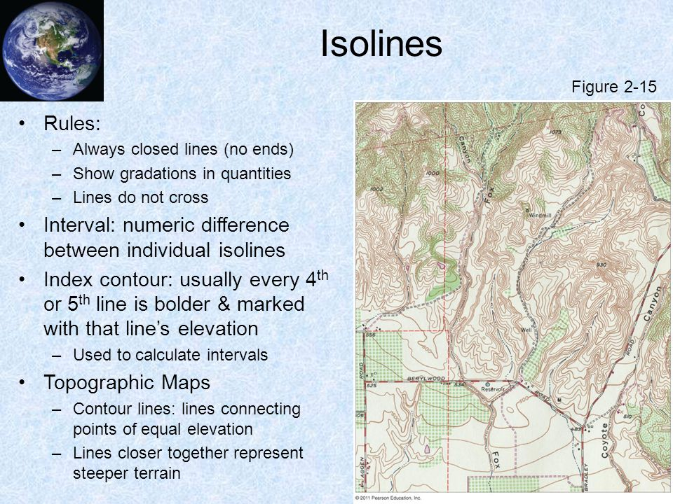 Isolines Figure 2-15. Rules: Always closed lines (no ends) Show gradations in quantities. Lines do not cross.