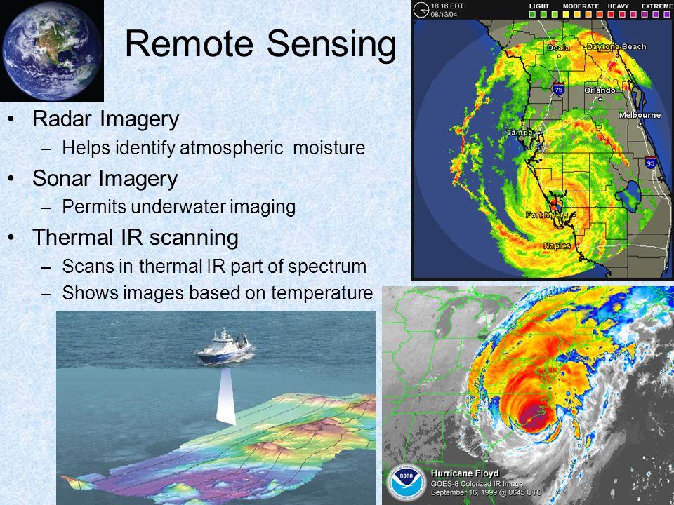 Remote Sensing Radar Imagery Sonar Imagery Thermal IR scanning