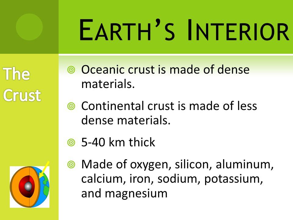Earth's Interior The Crust Oceanic crust is made of dense materials.