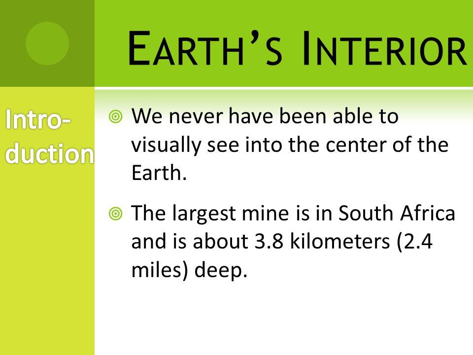 Earth's Interior Intro-duction