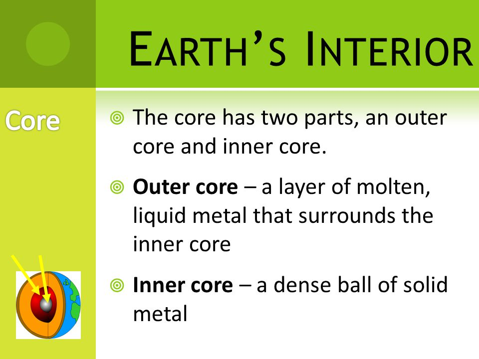 Earth's Interior Core. The core has two parts, an outer core and inner core.