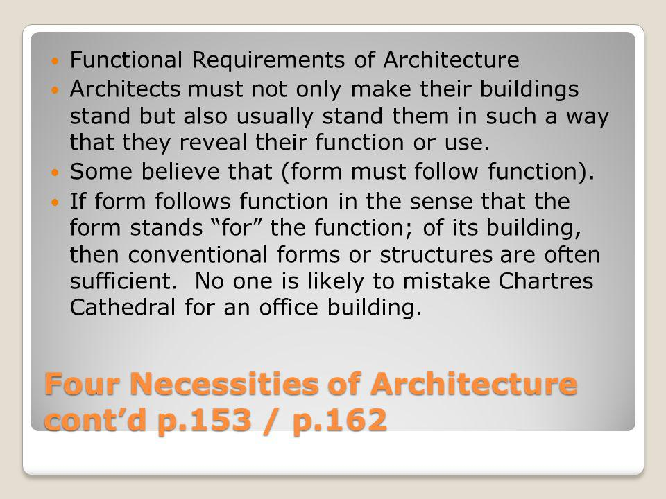Four Necessities of Architecture cont'd p.153 / p.162