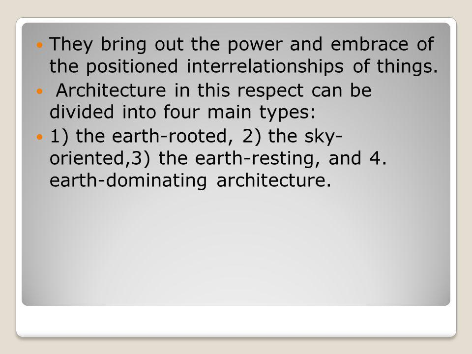 They bring out the power and embrace of the positioned interrelationships of things.