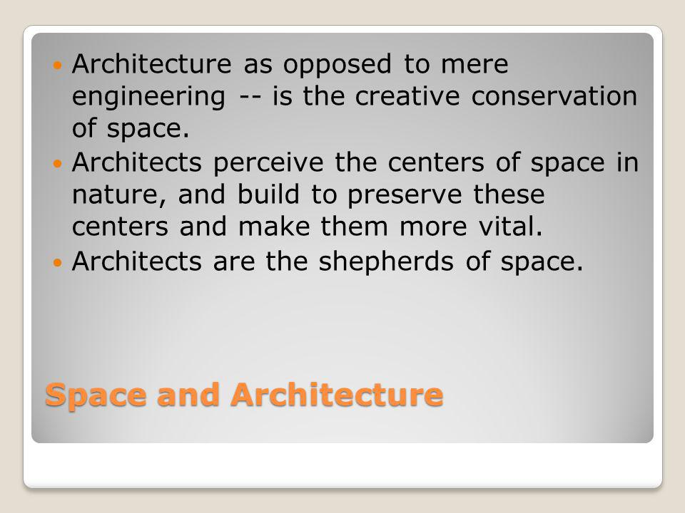 Space and Architecture