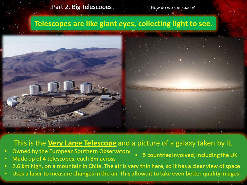 Telescopes are like giant eyes, collecting light to see.