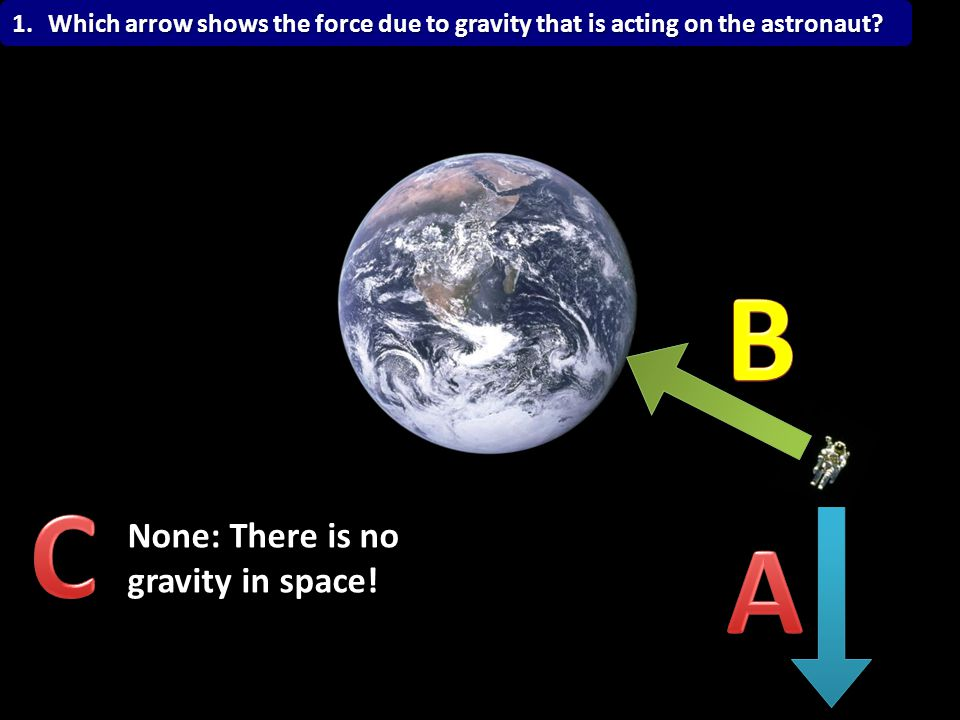 B B C A None: There is no gravity in space!