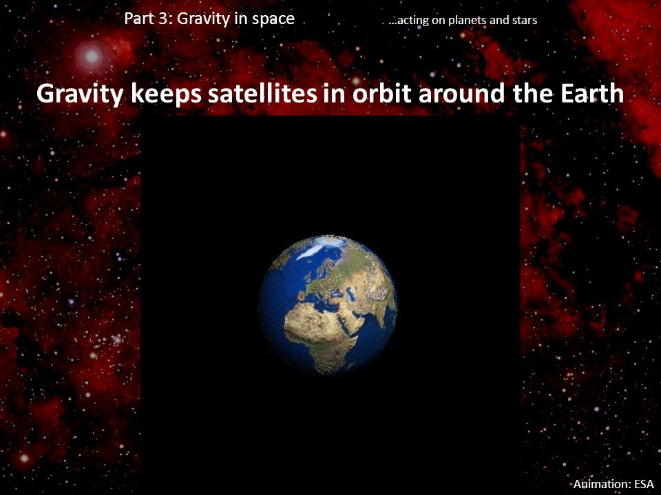 Gravity keeps satellites in orbit around the Earth