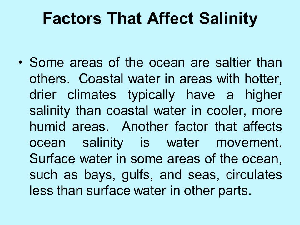 Factors That Affect Salinity