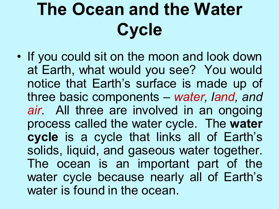 The Ocean and the Water Cycle