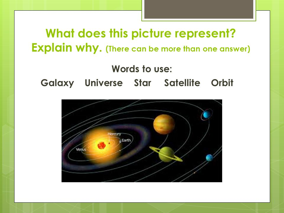 Words to use: Galaxy Universe Star Satellite Orbit