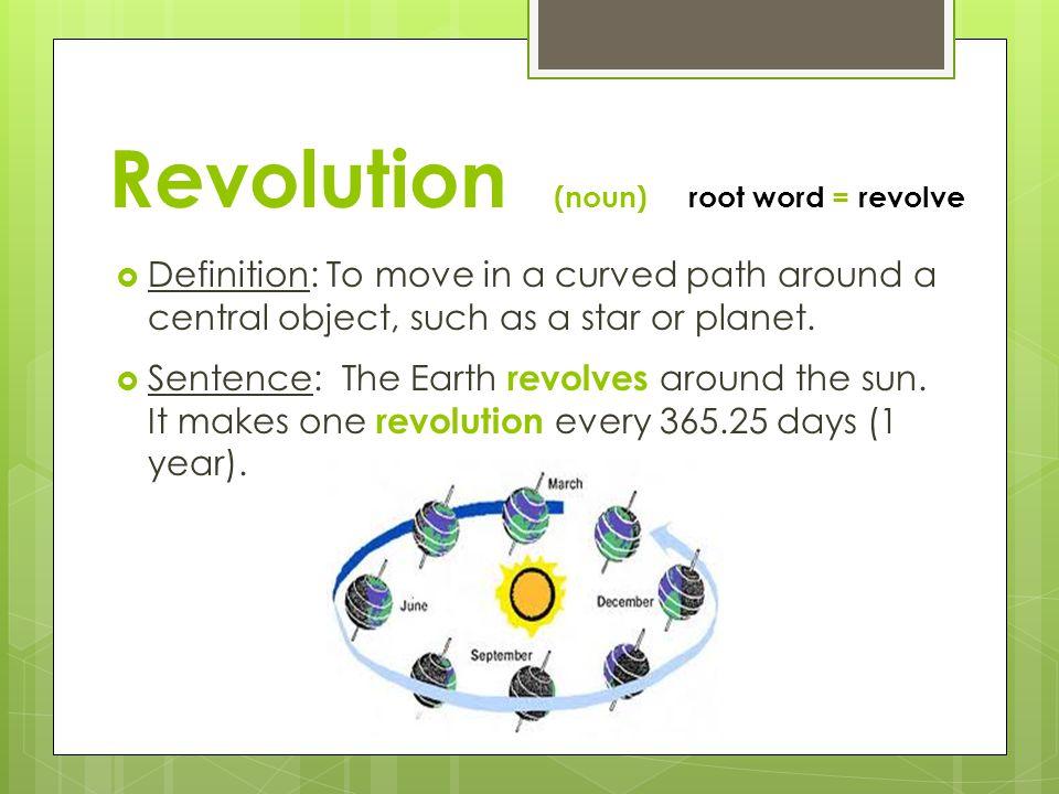 Revolution (noun) root word = revolve