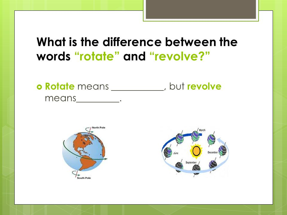 What is the difference between the words rotate and revolve