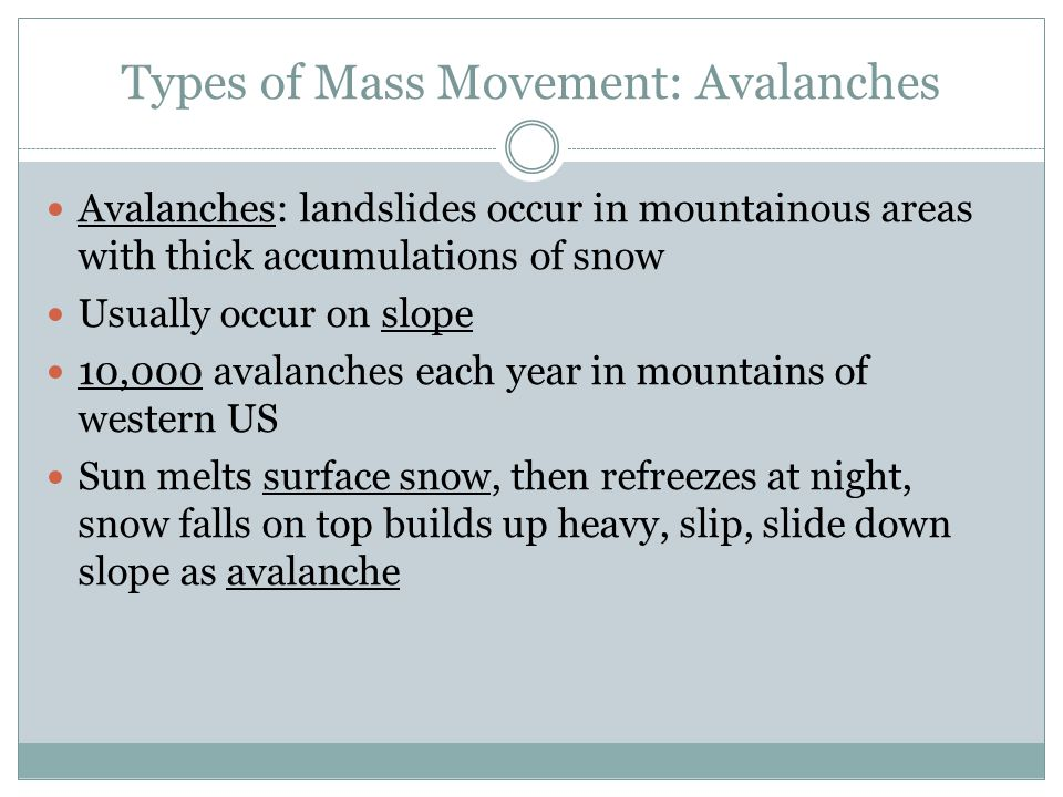 Types of Mass Movement: Avalanches