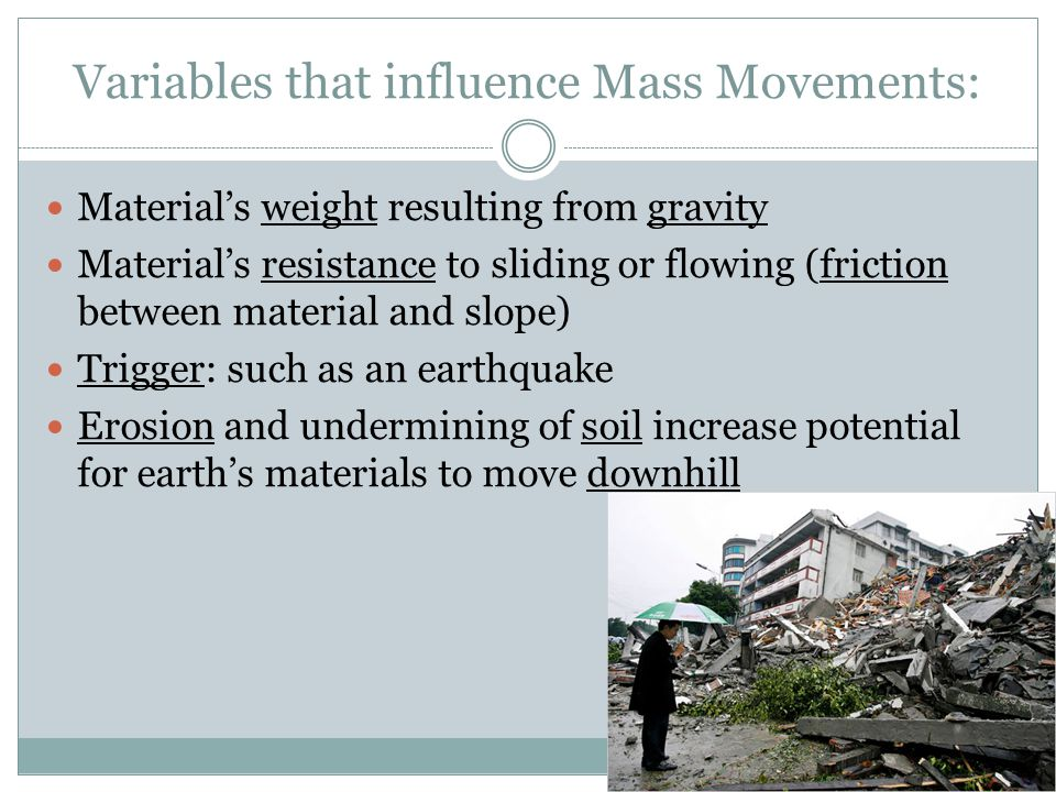 Variables that influence Mass Movements:
