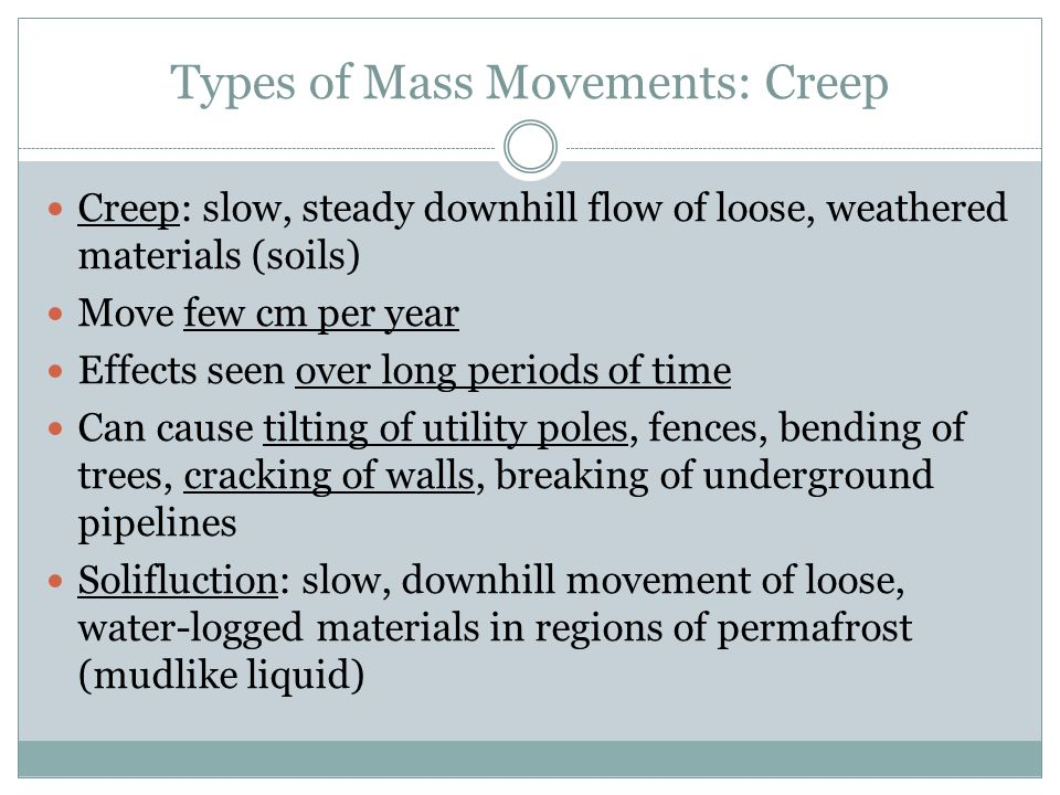 Types of Mass Movements: Creep