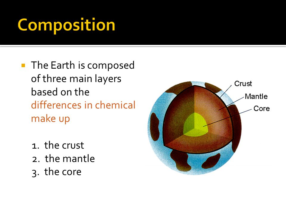 Composition The Earth is composed of three main layers based on the differences in chemical make up.