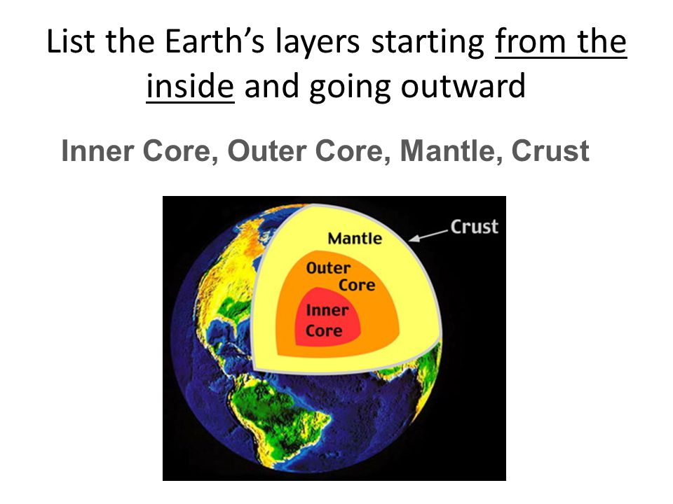 List the Earth's layers starting from the inside and going outward