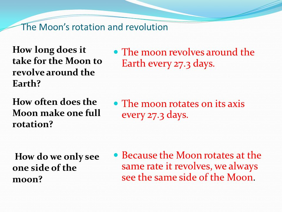 The Moon's rotation and revolution