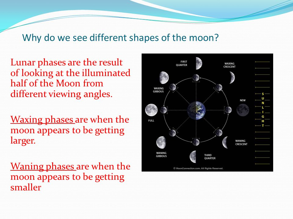 Why do we see different shapes of the moon
