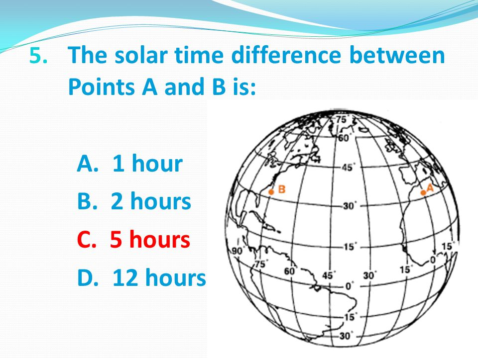 The solar time difference between Points A and B is: