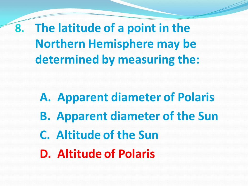 The latitude of a point in the Northern Hemisphere may be determined by measuring the: