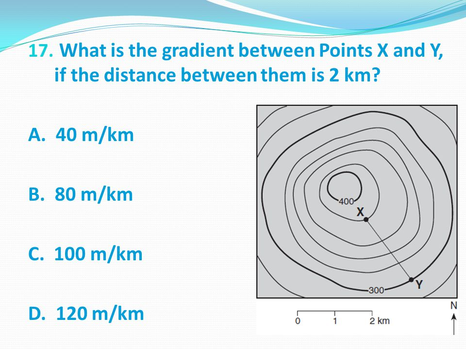 What is the gradient between Points X and Y, if the distance between them is 2 km