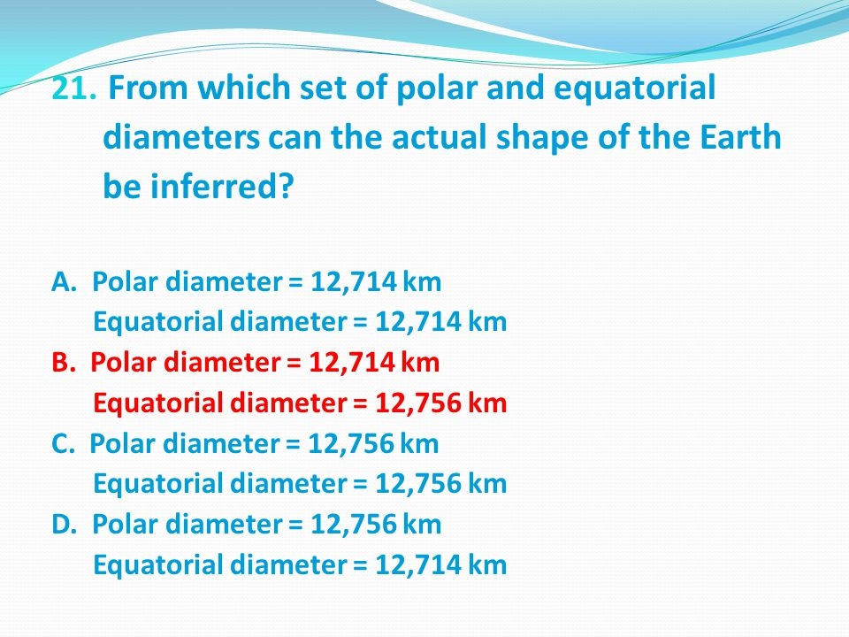From which set of polar and equatorial