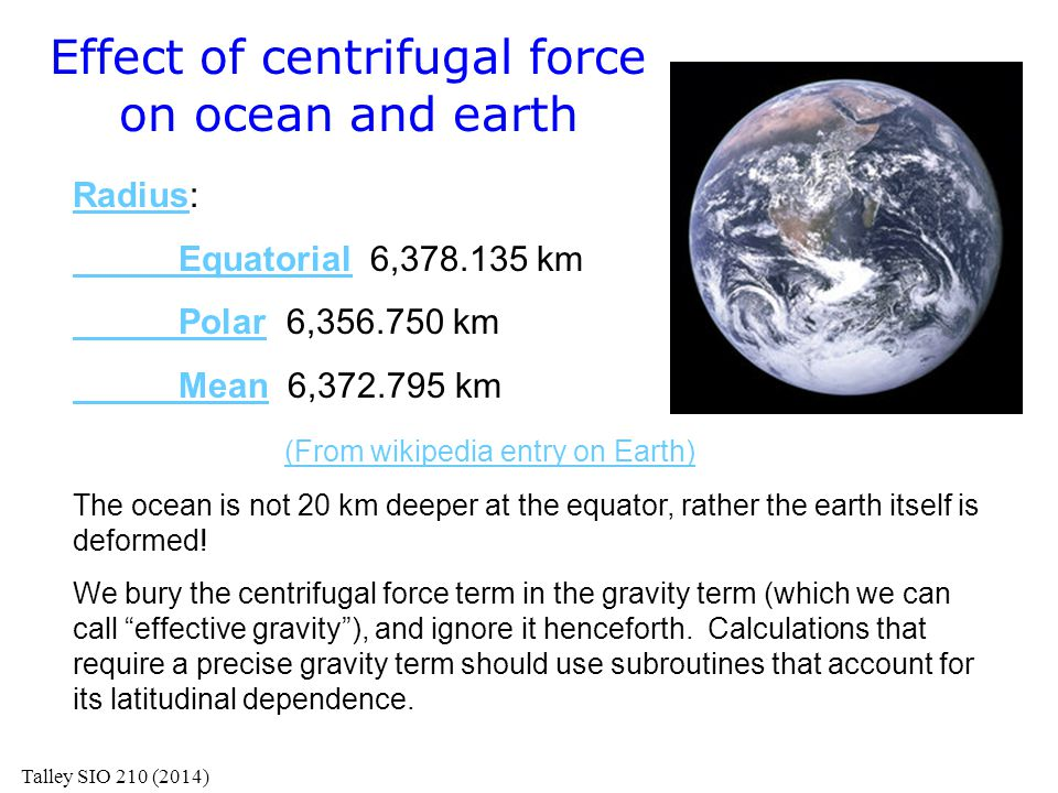 Effect of centrifugal force on ocean and earth