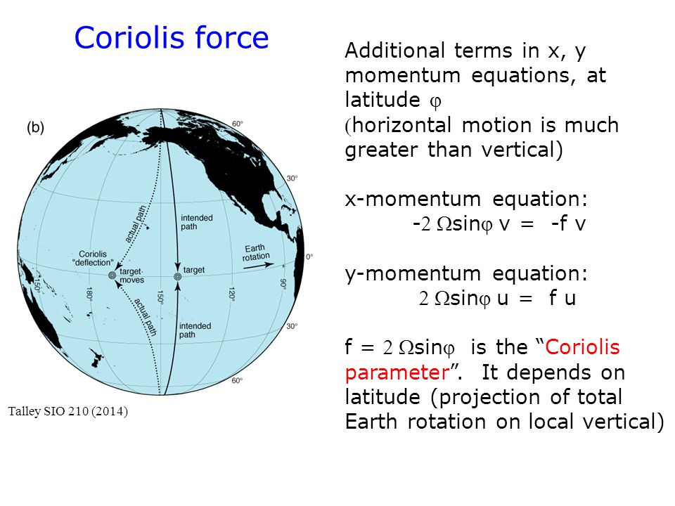 Coriolis force Additional terms in x, y momentum equations, at latitude  horizontal motion is much greater than vertical)