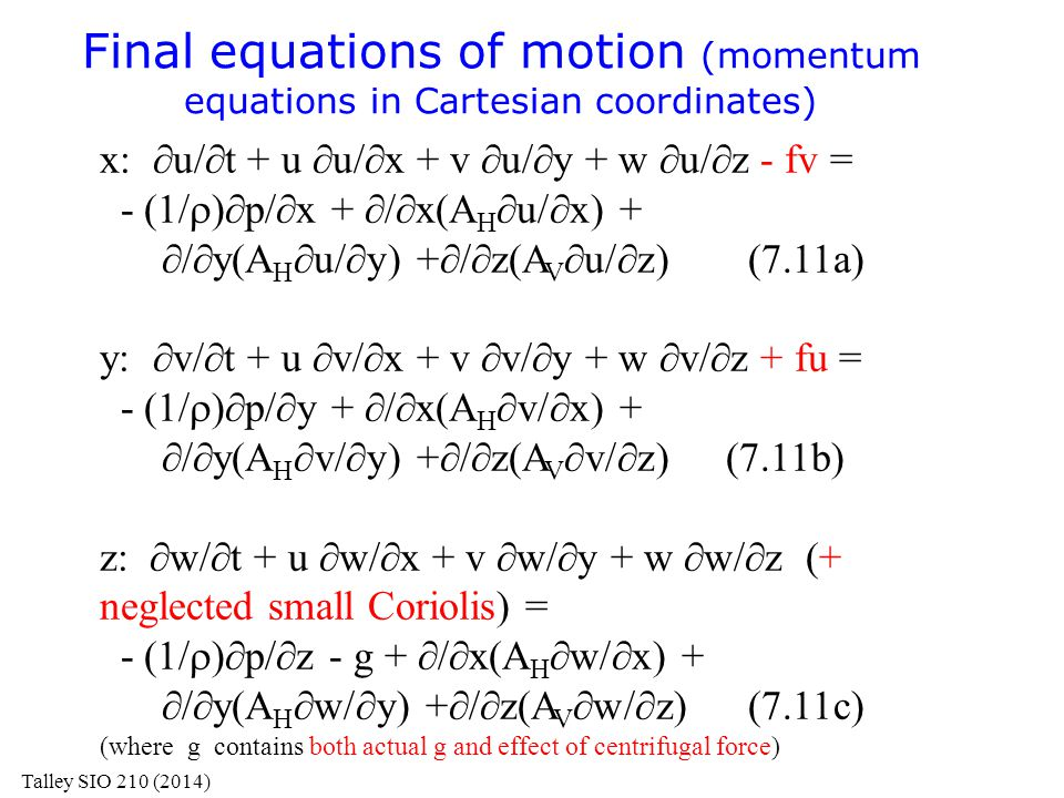 Final equations of motion (momentum equations in Cartesian coordinates)