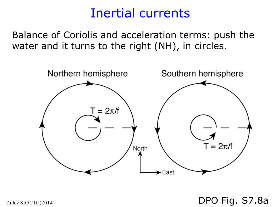 Inertial currents Balance of Coriolis and acceleration terms: push the water and it turns to the right (NH), in circles.