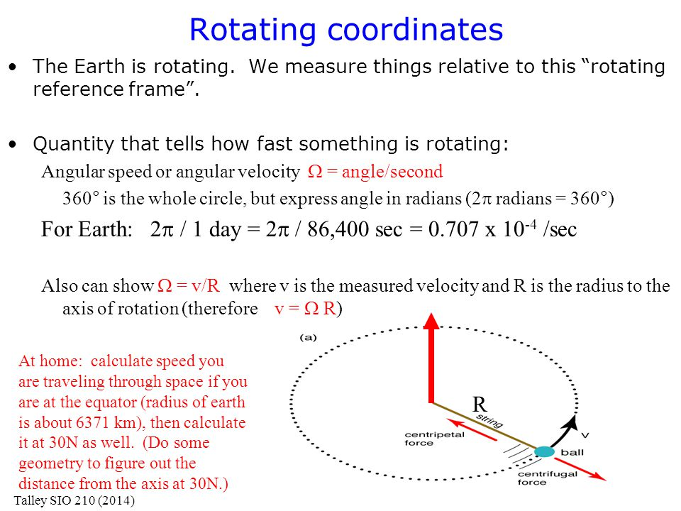 Rotating coordinates The Earth is rotating. We measure things relative to this rotating reference frame .