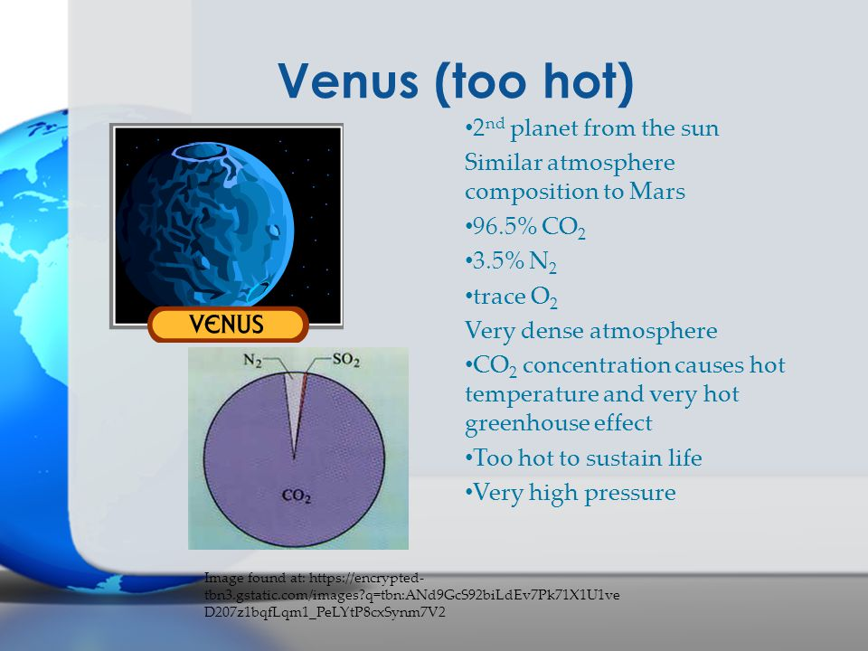 Venus (too hot) 2nd planet from the sun