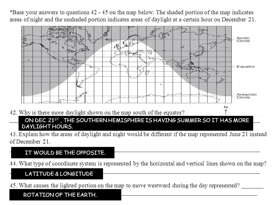 42. Why is there more daylight shown on the map south of the equator