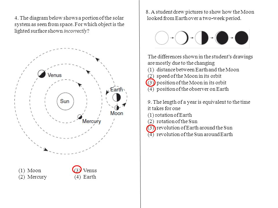 8. A student drew pictures to show how the Moon