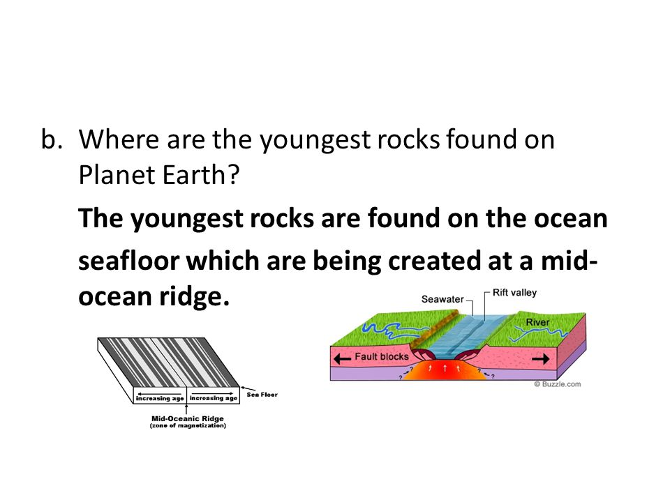 Where are the youngest rocks found on Planet Earth
