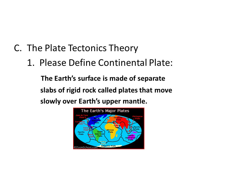 The Plate Tectonics Theory 1. Please Define Continental Plate:
