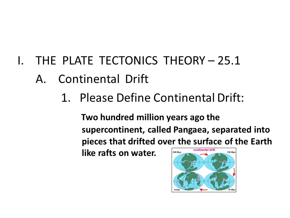 THE PLATE TECTONICS THEORY – 25.1