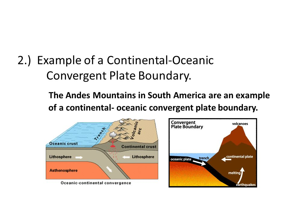 2. ) Example of a Continental-Oceanic Convergent Plate Boundary