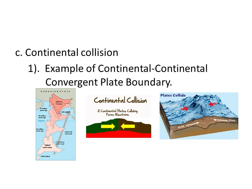 c. Continental collision 1)