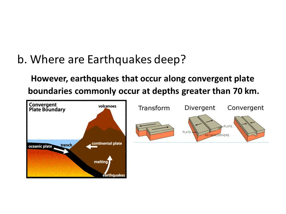 b. Where are Earthquakes deep