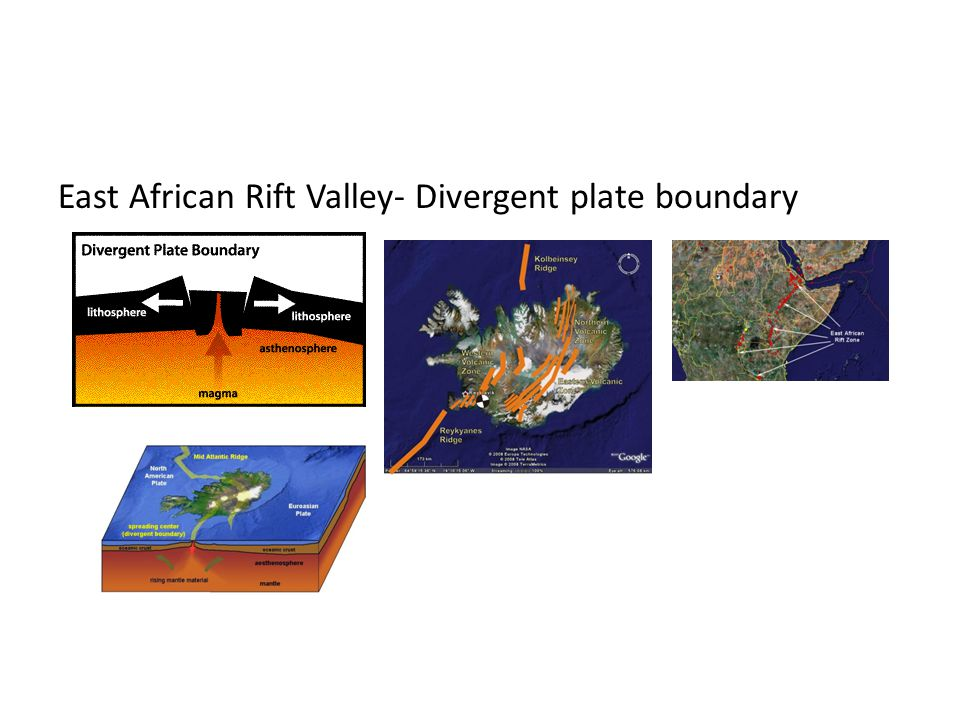 East African Rift Valley- Divergent plate boundary