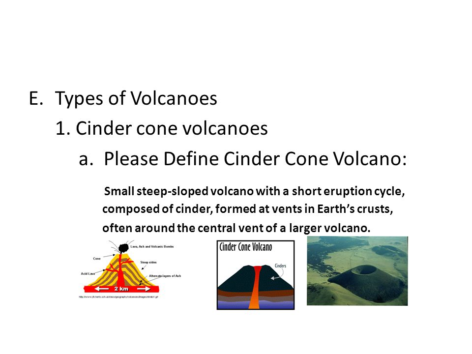 a. Please Define Cinder Cone Volcano: