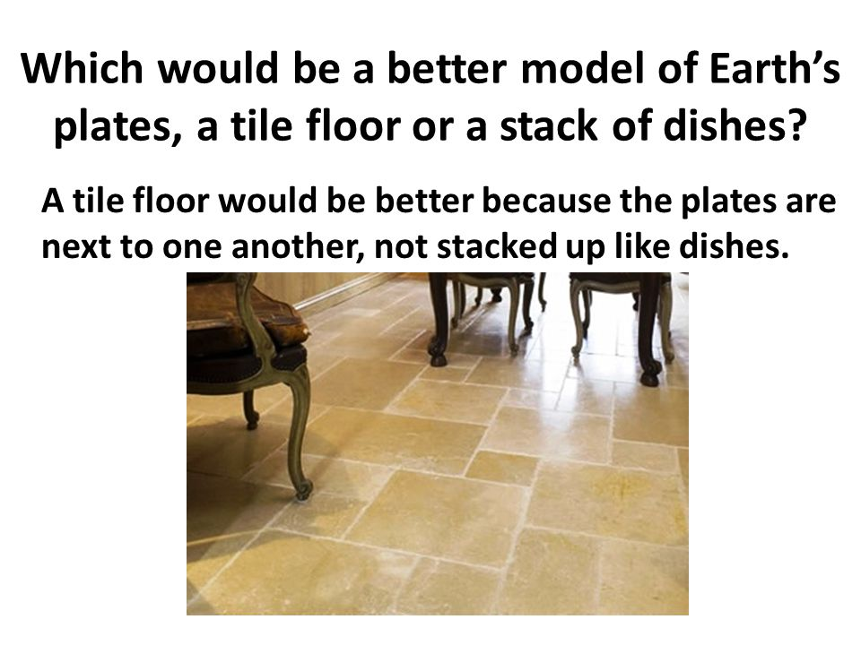 Which would be a better model of Earth's plates, a tile floor or a stack of dishes